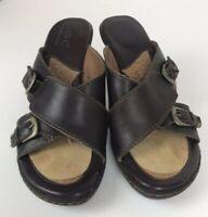 BOC Born Concept Women's High Heel Sandals Size 8 Brown Leather Slide w/Buckles