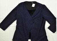 women's Notations dressy top set size medium dark blue vest with open front blk