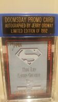 Doomsday Promo Card Autographed By Jerry Ordway Limited Edition Of 1992 DC w/COA