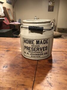 Antique Redwing Stoneware Canning Crock- With Advertising
