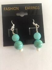 Hand Made Jewelry Drop Earrings in Turquoise Stones on Sterling Hardware
