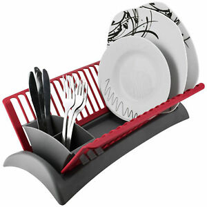 Alpina Dish Drainer Rack With Cutlery Section Compact Dryer Kitchen Sink Washing