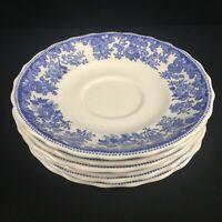 Sety of 6 VTG Saucer Plates by Spode Copeland Severn Blue Floral England