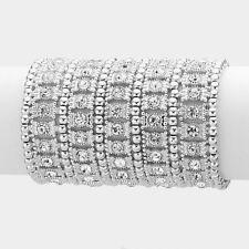 """3.50"""" silver ab crystal bangle cuff stretch bracelet bridal prom"""