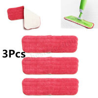 3PC Replacement Washable Microfiber Flat Spray Mop Dust Head Refill Cleaning Pad
