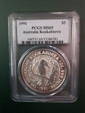 1991 Australia Kookaburra 1 oz 999 Silver Coin BU PCGS MS 65
