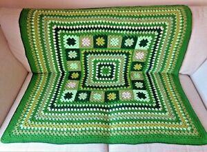 Handmade beautiful Crochet Blanket Throw Afghan Camper Granny Square Forest Walk