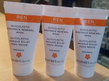 3x 15ml REN Clean Skincare Face Glycolactic Radiance Renewal Mask 45ml Total