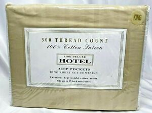 Fine Deluxe Hotel 100% Cotton Sateen 300 count Deep Pocket 4 Piece King Set