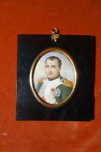 Napoleon I Bonaparte mit den Orden der Ehrenlegion, Miniaturmalerei um 1840