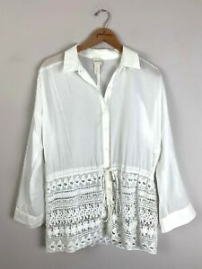Chico's White Lace Bottom Button Up Collared Cotton Shirt Top Size 1 Medium PM