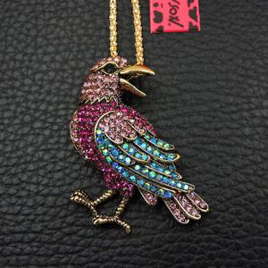 Hot Rhinestone Bling Pink Blue Bird Crystal Pendant Betsey Johnson Necklace