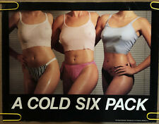 Original Vintage Poster A cold six pack sexy women pinup workout 1980s woman