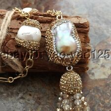 "K060408 22"" White Keshi Pearl Chain Crystal Necklace"