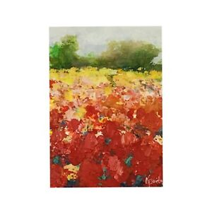 Original ACEO ATC Painting Floral Flower Meadow Tulips Free Shipping