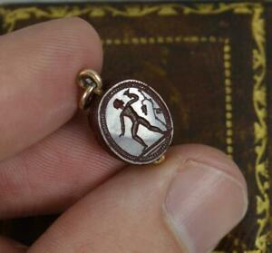Rare Antique 9ct Gold and Carnelian Scarab Intaglio Pendant Charm