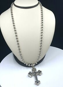 """King Baby 2 1/4"""" Large Cross On Bill Wall Medium Ball Chain 24"""" Necklace"""
