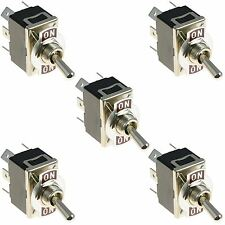 5 x On-On Standard Toggle Switch DPDT 15A 250VAC