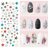 Nail Art Water Transfer Decal Manicure Sticker Decor Colorful Star DIY