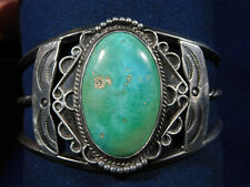 NATIVE AMERICAN STERLING Stamped TURQUOISE HANDMADE Vintage Wire BRACELET Estate