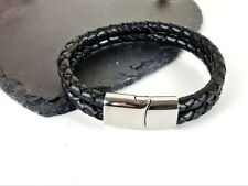 Men's braided leather & stainless steel double effect bracelet surfer rock gift