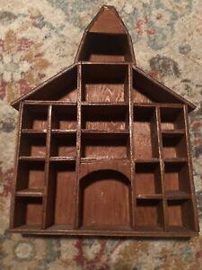 Vintage Handmade Wooden Schoolhouse Church Trinket Knick Knack Shelf