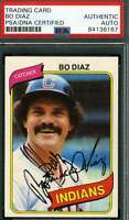 Bo Diaz Psa Dna Coa Autograph 1980 Topps Authentic Hand Signed