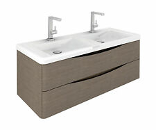 Cube 1200mm Grey Elm Wall Mounted Vanity Unit with White Resin Double Basin