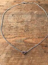 Link Chain Necklace Pendant Silver Plated Tiny Heart Shape