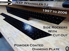Jeep Wrangler TJ++Powder Coat++Black Diamond Plate Side Rockers with cut out