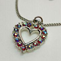 "Vintage Aurora Borealis Heart Pendant Silver Tone Necklace 15"" Chain"