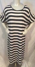 Black/Ecru Striped Sweater Dress Sz L
