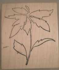 Poinsettia Outline Wood Mounted Rubber Stamp, Memory Box, Flower, Holiday