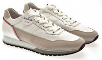 Hogan H321 Men's fashion trainers shoes in white and beige leather and suede