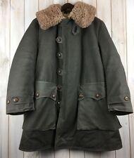 Vintage Années 40 WWII Suédois Militaire Armée Manteau Mats Larsson en peau de mouton Parka L/XL