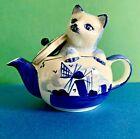 Blue White Cat Peeking Out Of Windmill Teapot Figurine Blue Crown Hallmark