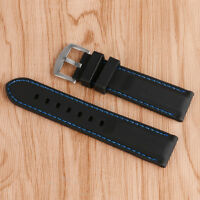Black Watch Strap Silicone Men Waterproof Blue Line Stitching Soft 20/22/24/26mm
