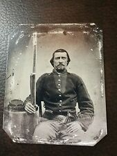 Civil War Military Soldier With Rifle & Gun tintype C206RP