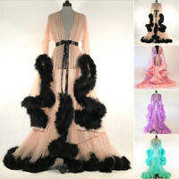 Bridal Feather Bridal Sheer Robe Boudoir Robe Pink Purple Long Birthday Gift New