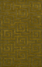 Green Transitional Hand Hooked Squares Curls Blocks Area Rug Geometric DV13