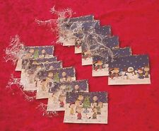 12 Peanuts Snoopy Charlie Brown Christmas Gift Hang Tags Glittered