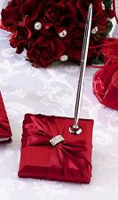 Red With Diamante Stone Detail Wedding Pen Set