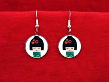KOKESHI DOLL JAPANESE GEISHA 3 EARRINGS FLOWERS KAWAII