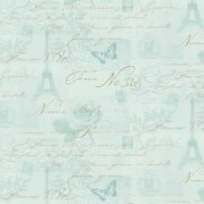 Holden Decor Wallpaper-Calligraphy- Paris/Stamps/ Eiffel Tower-Duck Egg-97753