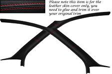 Rojo Stitch cabe Ford Focus Mk1 98-04 3 Puertas 2x Parabrisas un pilar Lthr cubre