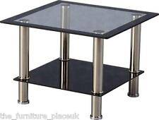 HARLEQUIN Glass Black Trim TV Coffee Table Lamp End Table