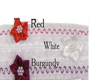 Baby Girl Flower & Pearl Satin Head Band Choice of White, Burgundy or Red