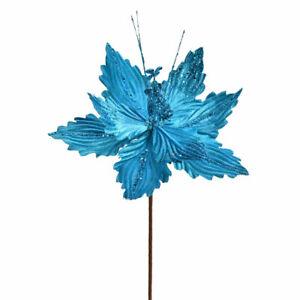 """12"""" Turquoise Poinsettia Spray 6/Bag"""