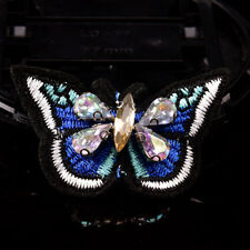 Butterfly sequins rhinestones bead brooch patches sew on beading applique DIY HF