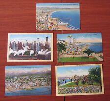 5 Postcards - Long Beach California CA- Ocean Rainbow Pear Oil District- linen
